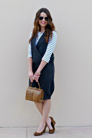 black jumpsuit Forever 21 jumper - striped talbots t-shirt