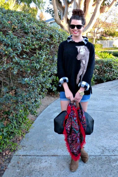 wolf print Zara sweater - ankle boots Marshalls boots - Forever 21 shirt