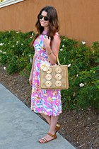 statement Loft necklace - floral asos dress - jeweled Target sandals