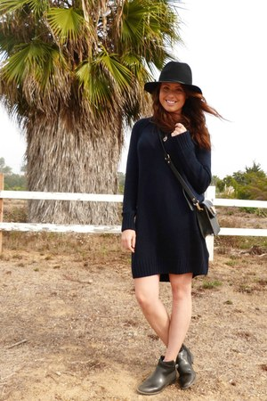 black H&M boots - fedora Target hat - navy dress H&M sweater