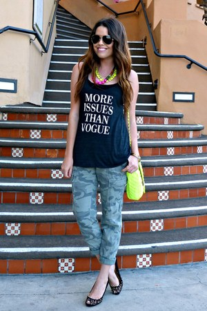 neon Forever 21 bag - studded Target heels - camo Old Navy pants