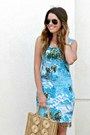 Printed-vintage-dress-straw-vintage-bag-aviator-forever-21-sunglasses