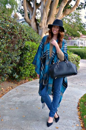 plaid asos cape - skinny jeans Paige Denim jeans - fedora Target hat