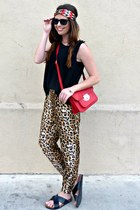 leopard Forever 21 pants - headband Forever 21 hair accessory
