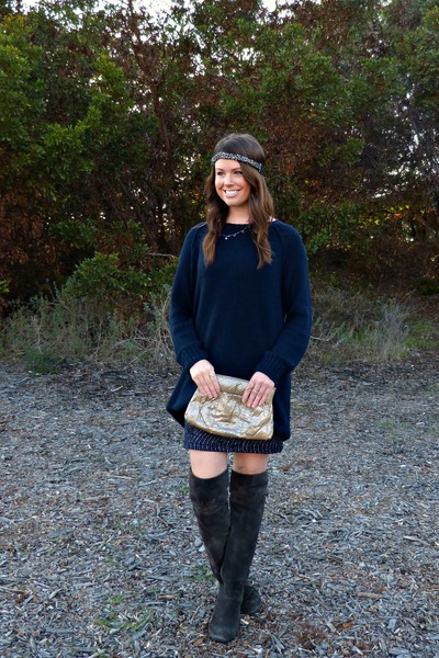 sequin vintage dress - calvin klein boots - navy H&M sweater