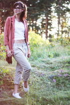salmon H&M blazer - dark brown leather H&M bag - beige chinos Monki pants - whit