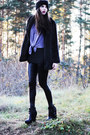 Light-purple-sheer-monki-blouse-black-harness-nelly-boots