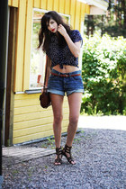 leather H&M bag - denim H&M shorts - studded leather Zara sandals - polka dot sh