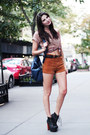 Blue-forever-21-bag-burnt-orange-corduroy-forever-21-shorts-blue-flower-prin