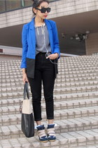 black and blue H&M blazer - black and khaki H&M bag