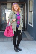 hot pink oversized NY&Co bag - dark khaki Old Navy jacket