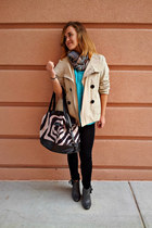 beige trench Zara jacket - dark brown Lancome bag