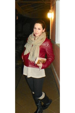 brick red vintige jacket - black random brand boots - black no brand leggings