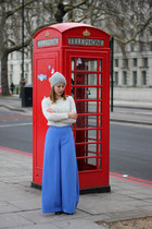 violet H&M pants - heather gray Zara hat - cream Uterque sweater