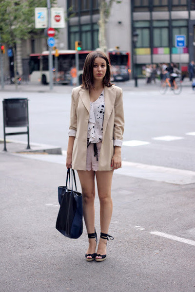light pink H&M shorts - beige Kenzo blazer - black Mango bag