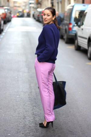 light purple H&M Trend pants - black Mango bag - black Zara heels