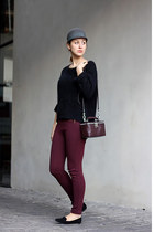 black H&M Trend sweater - gray Zara Kids hat - crimson Bimba & Lola bag
