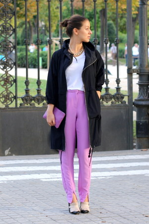 amethyst H&amp;M Trend pants - navy Marni x H&amp;M coat - amethyst Bimba &amp; Lola purse