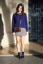 navy Topshop sweater - crimson Bimba & Lola bag - black none skirt