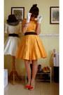 Orange-dress-white-gloves-beige-vivienne-westwood-for-melissa-heels-light-