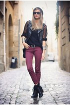 ruby red new look jeans - black new look boots