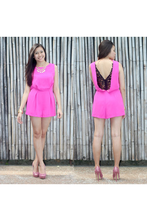 pink Topshop romper - white Aveadena necklace - lace Dolce & Gabbana heels