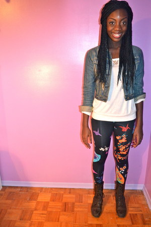 floral-abstract Versace for H&M leggings - combat boots American Eagle boots