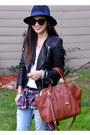 Ripped-ross-jeans-forever-21-hat-leather-h-m-jacket