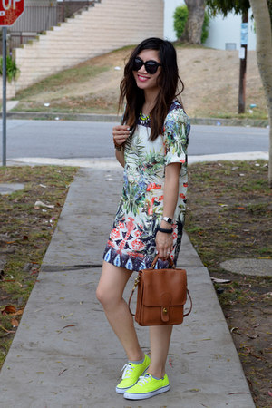 Sheinside dress - thrifted coach bag - Karen Walker sunglasses