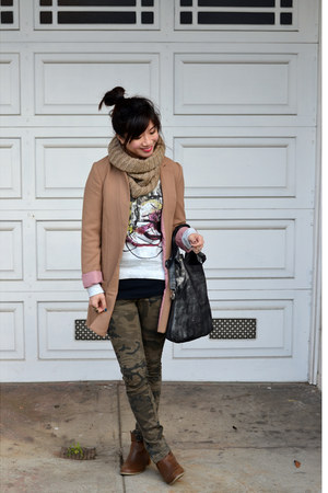 camo Zara pants - Old Navy boots - camel H&M jacket - knit H&M scarf