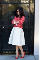 H&M skirt - Forever 21 sweater - Karen Walker sunglasses - Gap heels