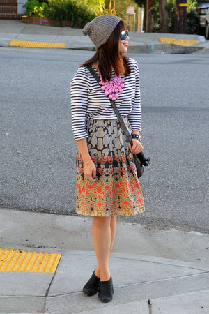 H&M hat - Nanette Lepore shoes - stripe H&M shirt - foley & corinna bag
