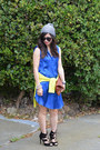 Cobolt-blue-h-m-dress-h-m-hat-thrifted-sweater-clare-vivier-bag