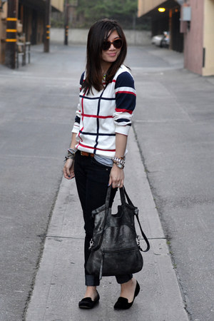 Forever 21 sweater - Forever 21 jeans - foley & corinna bag