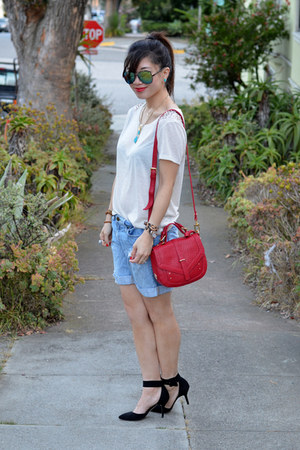 Forever 21 shorts - tory burch bag - embellished H&amp;M t-shirt - Zara heels