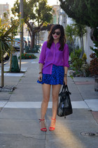 purple H&M shirt - foley & corinna bag - Forever 21 skirt