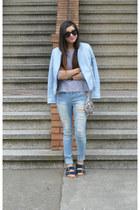 Zara jacket - Ross jeans - stripes H&M shirt - sequin free people bag
