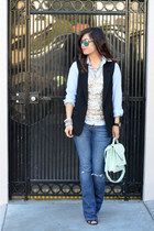 sequin JCrew top - American Eagle jeans - Gap shirt - loeffler randall bag