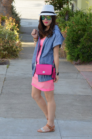 pink H&amp;M dress - Target hat - chambray Derek Lam x Kohls jacket - coach bag