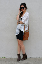 lace kimono Forever 21 jacket - Ross boots - H&M dress - willis coach bag
