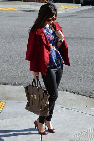 peplum H&M top - cape Tulle jacket - 31 Phillip Lim bag - Enzo Angiolini heels