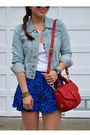 Blue-forever-21-skirt-h-m-hat-denim-h-m-jacket-red-tory-burch-bag
