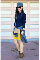 navy random sweater - Old Navy boots - as skirt Anthropologie dress - Gap hat