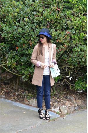 H&M jacket - Forever 21 hat - rider loeffler randall bag - Zara heels - Gap top
