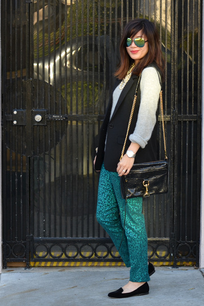 emerald green H&amp;M pants - H&amp;M sweater - Rebecca Minkoff bag