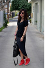 Zara-dress-foley-corinna-bag-black-lucky-t-shirt-nike-sneakers