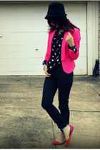 H&M blazer - Reiss hat - H&M shirt - shoemint flats - H&M pants
