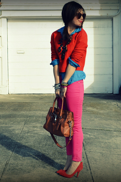 Gap heels - H&M sweater - f21 shirt - H&M pants