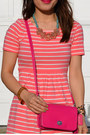 Pink-forever-21-dress-coach-purse-karen-walker-sunglasses