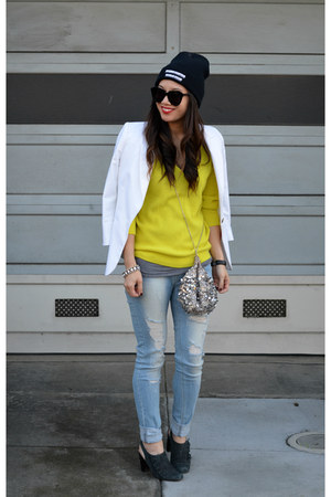 sequin free people bag - Nanette Lepore shoes - ripped Ross jeans